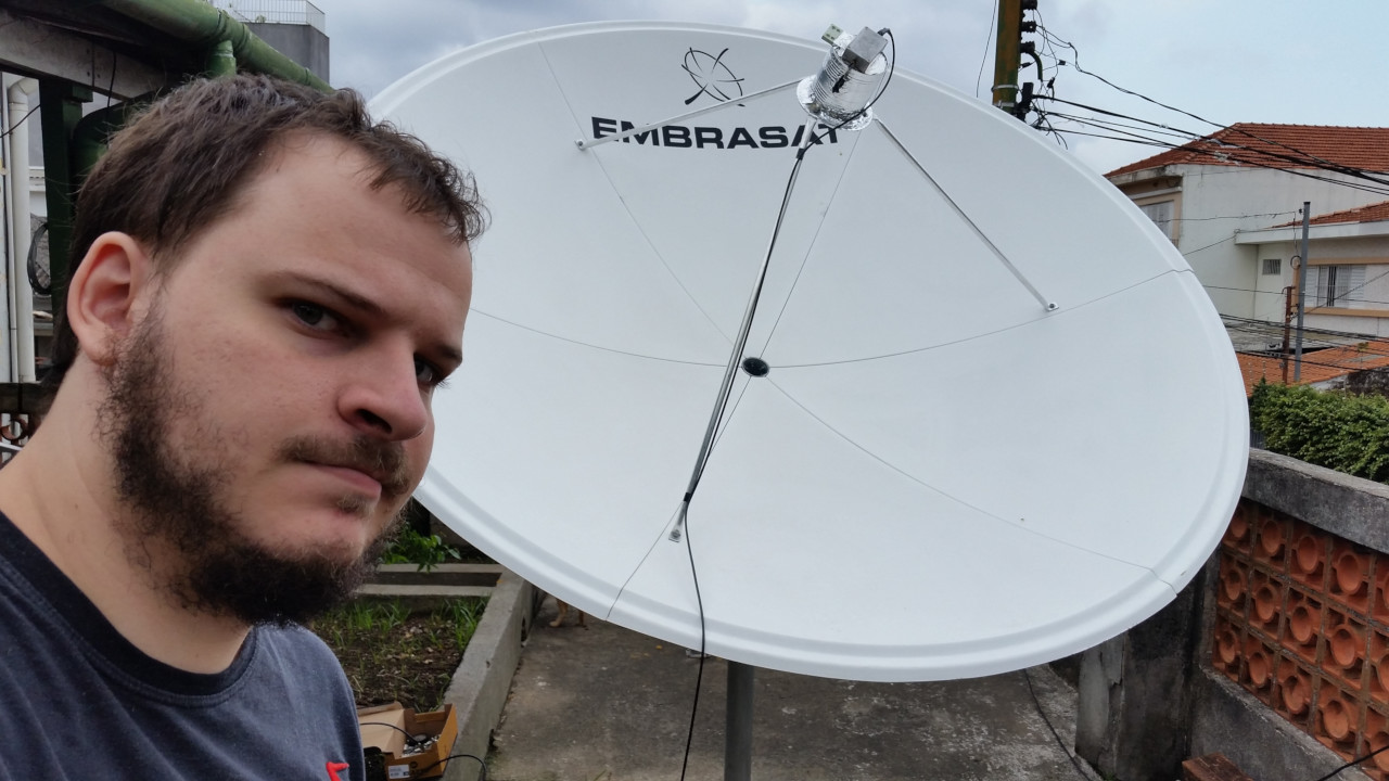 Open Satellite Project Founder Lucas Teske with Home-Made Antenna